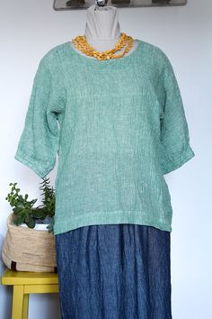 Orange Jumpers, Weekend Wear, Crinkles, Linen Fabric, Half Sleeves, Mint Green, Minimalist, Etsy Shop, Pullover