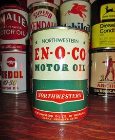 EN-O-CO 1 QT. Metal Motor Oil Can, circa 1940's