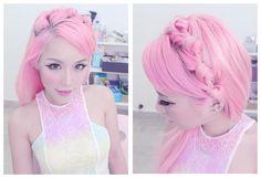 Pink hair ala Xiaxue. #pink #hair #cute