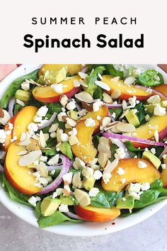 GORGEOUS summer peach spinach salad packed with creamy goat cheese, avocado and crunchy, toasted almonds. This flavorful salad is drizzled with an easy homemade balsamic vinaigrette for the ultimate lunch or picnic side dish! Cucumber Recipes, Lunch Recipes, Salad Recipes, Vegetarian Recipes, Healthy Recipes, Vegetarian Picnic, Spinach Recipes, Gluten Free Recipes, Salade Healthy