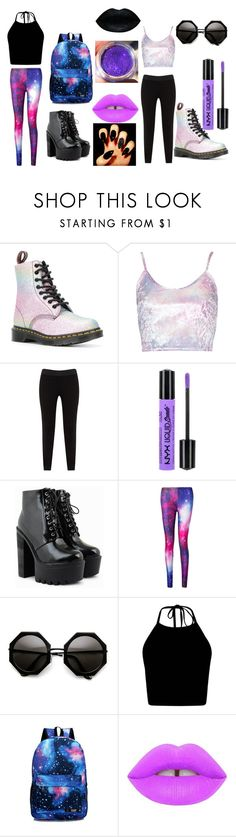 """""""simple festival (galaxy)"""" by ellen-rose132 on Polyvore featuring Dr. Martens, JunaRose, NYX and Lime Crime"""