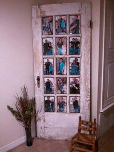 Old door with photographs in the window panes