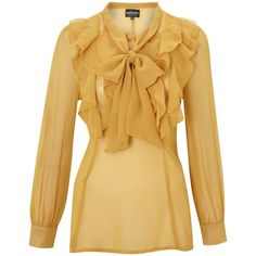 Sodamix ruffle blouse ($36) ❤ liked on Polyvore featuring tops, blouses, shirts, yellow, loose long sleeve shirt, long sleeve ruffle blouse, v neck blouse, v-neck shirts and ruffle blouse
