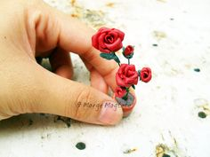 Made Polymer Clay Miniature Red Roses :)    Thank you Pedro Ramirez for THIS awesome tutorial. :)    Roses has always been my favorite flowers  :)