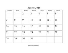 Calendario de Agosto de 2016 imprimir gratis