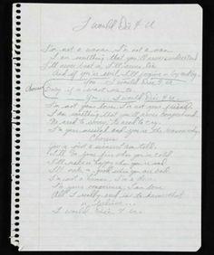 I would Die 4 U handwritten lyrics