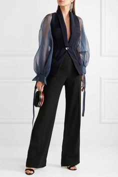 Antonio Berardi - Silk-organza Jacket - Navy - IT