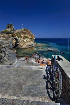 Andros Island- bike on the beach, Greece Mykonos, Santorini, Most Romantic Places, Beautiful Places To Visit, Beautiful Beaches, Andros Greece, Athens Greece, Paros, Greece Islands