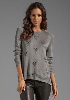 Lauren Moshi Helena Mini Skull Face Sweater in Heather Grey173