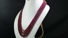 5 Strands Natural Red Ruby 559ct Cabochon Beaded Gemstone String Necklace