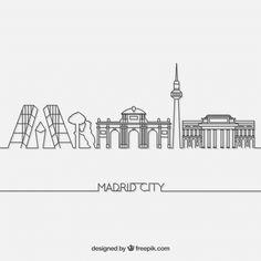 Skyline of madrid , Madrid Skyline, Madrid City, Skyline Tattoo, Skyline Art, City Tattoo, City Logo, Skyline Silhouette, City Sky, City Illustration