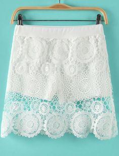 White Hollow Floral Crochet Lace Skirt US$17.09