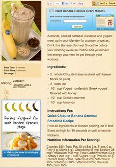 Banana breakfast/pre-workout shake