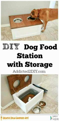 DIY Storage Ideas - DIY Dog Food Station with Storage - Home Decor and Organizin. DIY Storage Ideas - DIY Dog Food Station with Storage - Home Decor and Organizing Projects for The Bedroom, Bathroom, Living Room, Panty and. Do It Yourself Organization, Dog Organization, Bathroom Organization, Organizing Ideas, Woodworking Organization, Organising, Diy Rangement, Ideias Diy, Diy Décoration
