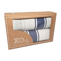 Blue Muslin Swaddling Blankets 2 Pack from the Nantucket Collection at XOve Baby.