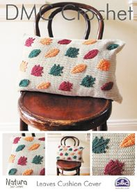 Leaves Cushion Cover in DMC Natura Just Cotton - Discover more Patterns by DMC at LoveCrafts. From knitting & crochet yarn and patterns to embroidery & cross stitch supplies! Shop all the craft materials you need to start your next project. Crochet Leaves, Crochet Fall, Crochet Home, Cushion Cover Pattern, Cushion Cover Designs, Crochet Cushions, Crochet Pillow, Cotton Crochet Patterns, Cross Stitch Supplies