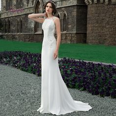 White Embroidered Sheath Wedding Dress / Bridal Tight Skin Gown with Open Back and Short Train by Belfaso Wedding Dresses Near Me, White Wedding Gowns, Stunning Wedding Dresses, Wedding Dress Sleeves, Perfect Wedding Dress, Cheap Wedding Dress, Lovely Dresses, Bridal Dresses, Girls Dresses