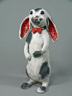 Ceramic rabbit sculpture, Rascal, An animal sculpture by Cathy Meincer