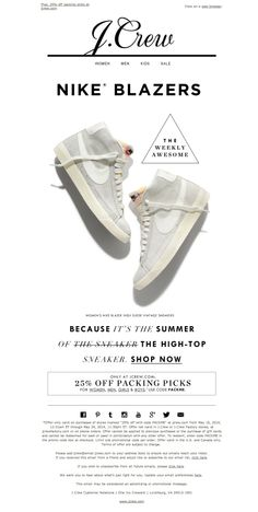 #newsletter J.Crew 05.2014 Your summer Nikes are here...