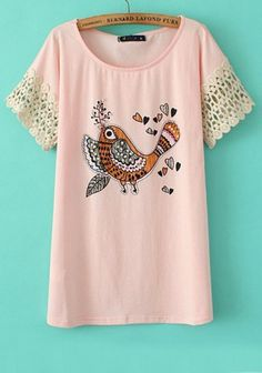 Love Pink! So Sweet! Little Pink Bird + Hearts with Beige Lace  Sleeves Summer T-Shirt #Pink #Hearts #Bird #Art #Lace #Summer #Fashion