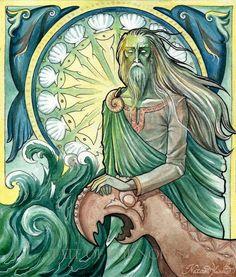 """Njord:  Njord (pronuncia-se """"Nyord""""; antigo nórdico Njörðr, cujo significado do nome é desconhecido) é um dos principais deuses da tribo dos Vanir. Ele era visto como um deus dos ventos e também de vários serviços náuticos (pesca, navegação, etc.). Ele também era membro honorário dos deuses Aesir, tendo sido enviado à eles durante a Guerra Aesir-Vanir, juntamente com seus filhos Freyr e Freya. A mãe de Freyr e Freya é supostamente a irmã sem nome de Njord, que, com base em evidências…"""