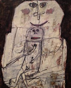 1956 Femme et Bébé by Jean Dubuffet (French 1901~1985), best known for founding the art movement 'Art Brut'