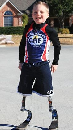 Nine-year-old Cody McCasland has more than 20 artificial legs so he can take part in all sports and beat his able-bodied friends - despite having his own amputated.    The determined boy, who dreams of winning a Paralympic gold, has running, walking and sitting down legs so he can get around - and win at every event.    Cody was born without any tibia or knee bones, and had to have the bottom half of his legs amputated as a toddler.