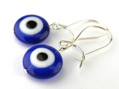 Dark blue millefiori glass eye bead dangling earrings by meecreation for $6.71