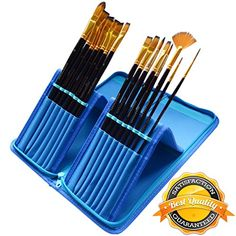 Paint Brushes - 15 Pc Art Brush Set for Watercolor, Acrylic, Oil & Face Painting - Long-handle Artist Paintbrushes with Travel Holder (Cool Blue) & Free Gift Box | 1 Year Warranty MyArtscape