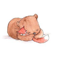 Snuggle--Fox and Bear--- Nursery Art Illustration Print 8x10 on Etsy, $21.04 CAD