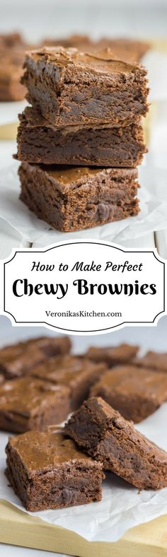 These Double Chocolate Chewy Brownies with Coffee have luscious rich chocolate flavor and a beautiful chewy texture. They are a perfect treat for chocolate lovers who knows the real deal in brownies.