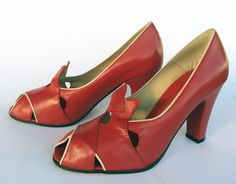 Our perky mid 1930's peep toe pump with contrast piping and pointy vamp detail. Leather uppers with leather soles Whole and half sizes, 5 ½-11 Medium widths 3""