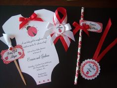 Complete Lady Bug Baby Shower Set Invitation Favor Tags Capias Straws | suncitypartycreations - Cards on ArtFire