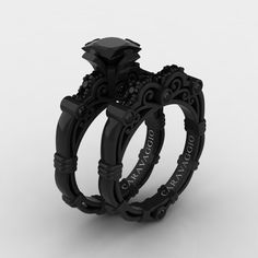 Art Masters Caravaggio 14k Black Gold 1 25 Ct Princess Diamond Engagement Ring Wedding Band Set