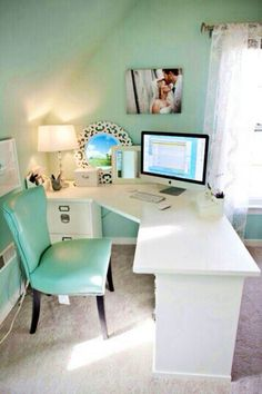 R Home Office Corner Desk Using Short File Cabinets And Special Cut Wood  Piece