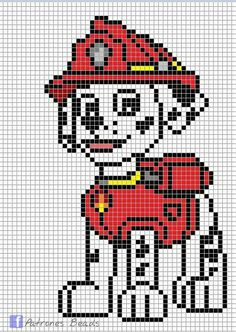 Discover thousands of images about Paw Patrol Pattern - Marshall PAW Patrol perler pattern Patrones Beads Plantillas Hama Beads Design, Hama Beads Patterns, Beading Patterns, Crochet Patterns, Knitting Patterns, Crochet Pixel, Crochet Chart, C2c Crochet, Cross Stitching