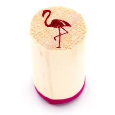 Tampon Bois Rond Flamant Rose