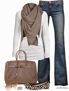 Casual outfit. Love the texture and color of this scarf and just a pop of sass with the flats.