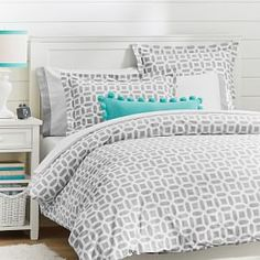 Peyton Duvet Cover + Sham, Light Grey #PBteen