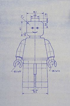 Sketches we like / Lego / lego figure / Technical drawing / measurments / Blueprint / at Design Binge