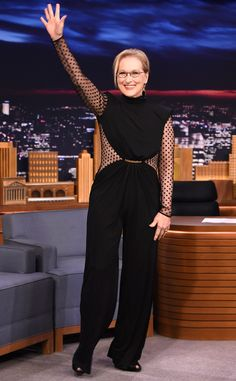 Rocker Mom from Fashion Police  Meryl Streep is really channeling her character from Ricki and the Flash in this edgy, rock-star style pantsuit from the Balmain Pre-Fall 2015 collection. We love how the Oscar winner proves you can be sexy at any age with sheer panels (if they're in the proper places of course). Rock on, Meryl!