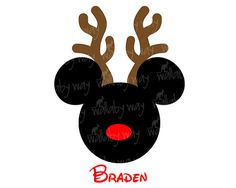 Disney Christmas Mickey Reindeer Printable Iron On or use as Disney Clipart by TheWallabyWay - Perfect for Mickey's Very Merry Christmas Party - DIY Disney Christmas Shirt Disney Christmas Shirts, Mickey Mouse Christmas, Mickey Y Minnie, Christmas Hat, Christmas Holidays, Xmas, Disney Diy, Disney Crafts, Mickeys Christmas Party