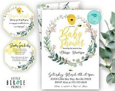 BEE Invitation BABY SHOWER Invitation Greenery baby shower Bee baby shower pack diaper raffle tickets Books for baby Book instead of a card Bee Invitations, Baby Shower Invitations, Birthday Invitations, Kids Planner, Baby Milestone Cards, Baby Shower Welcome Sign, Virtual Baby Shower, Diaper Raffle Tickets, Baby Shower Balloons