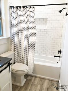 Sep 11, 2019 - We partnered with Bemis® Manufacturing Company for this modern farmhouse bathroom reveal and renovation. #YellowBathroomDecor Farmhouse Shower Curtain, Modern Shower Curtains, Bathroom Shower Curtains, Bad Inspiration, Bathroom Inspiration, Complete Bathrooms, Bathroom Images, Bathroom Ideas, Modern Farmhouse Bathroom