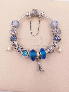 $339 Pandora Charm Bracelet Blue. Hot Sale!