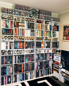 This would be my DREAM Harry Potter library! From books to collectibles, this would be perfect! I Love Books, Books To Read, My Books, Bookshelf Inspiration, Harry Potter, Dream Library, Teen Library, Home Libraries, Book Storage