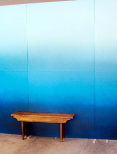 I'm thinking an ombre wall in his man cave would be nice to break up the solid blue and help the the space look less small.