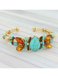 Turquoise and Brown Jeweled Goldtone Cuff