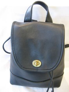 Auth.COACH Classic Black Leath. Small Backpack by CLASSYBAG