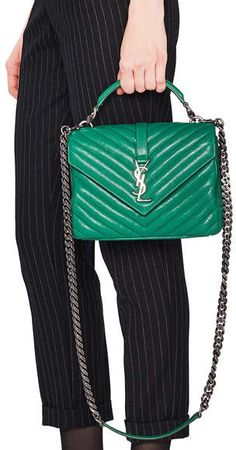 11022bc68a5e Saint Laurent Medium Monogramme College Bag #saintlaurent #green #luxury # handbags #shopstyle